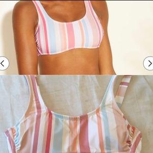 Xhiliaration L Juniors Pastel Striped Bikini Top